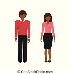 man and woman character with dark skin color and brown hair