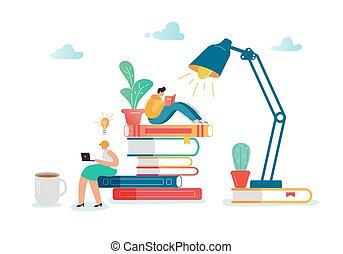 Man and Woman Characters Reading Books. Flat People Sitting on Stack of Books. Education, Library Literature Concept with Students Learning. Vector illustration