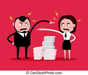 Man and woman colleagues office workers characters quarreling. Bad teamwork. Vector flat cartoon illustration