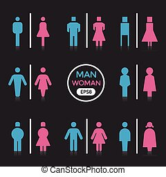 Man and Woman color sign vector illustration