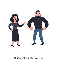 Man and woman conflict. Family quarrel