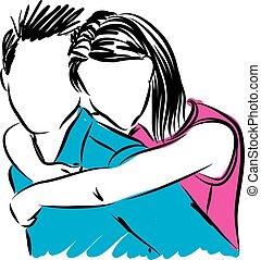 man and woman couple hugging illustration