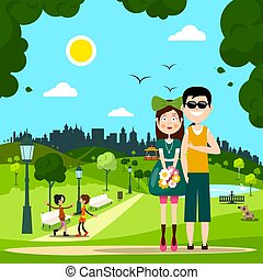 Man and Woman - Couple in Love in City Park Vector Illustration.