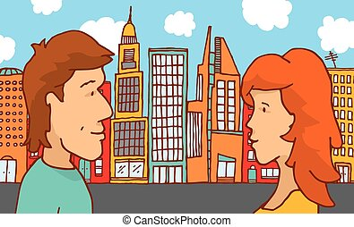 Man and woman couple meeting in the city