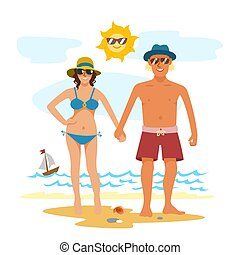 Man and woman couple vacation summer time on the beach sand tropical nature vector illustration.
