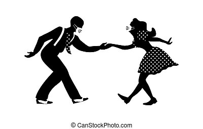 Man and woman dancing lindy hop with medical masks on their ...