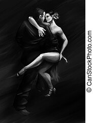 Man and woman dancing tango in passion pose - Painting of a...