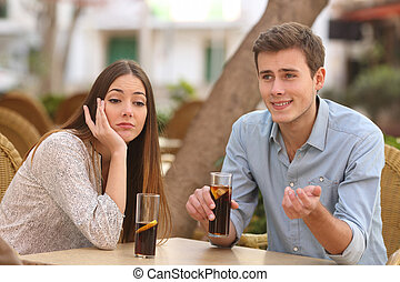 Man and woman dating but she is boring while he speaks
