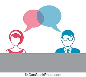Man and woman dialog icon - Man and woman icons with dialog...