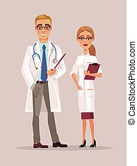 Man and woman doctors characters. Vector flat cartoon illustration