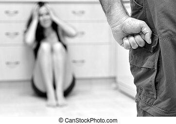 Man and woman domestic violence