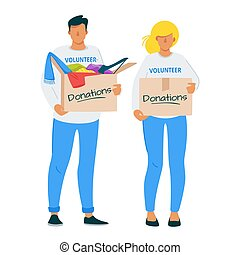Man and woman donating clothes to charity flat illustration