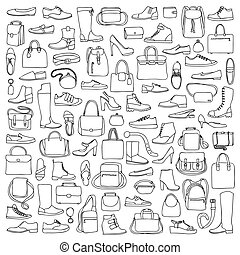 Man and woman doodle shoes and bags