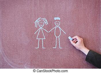 Man and woman drawn in chalk on blackboard