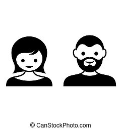 Man and woman face icons