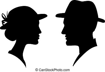 man and woman face profile silhouette