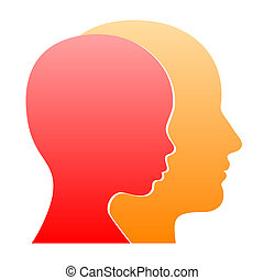 Man and Woman Face Profile Silhouette. Vector