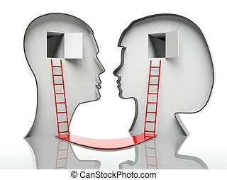 Man and woman faces profiles with ladders and path, concept of communication