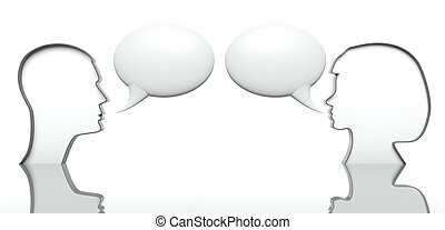 Man and woman faces profiles with speech bubbles for text