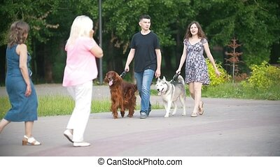 Man and woman - family couple with pets dogs walking in park...