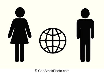 man and woman figures vector - world internet icon