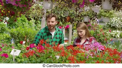Man and woman gardening flowers - Young casual man and woman...