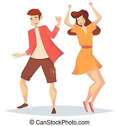 Man and woman, girl and boy dancing at disco