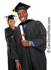 Man and Woman Graduates - Attractive man and woman african...