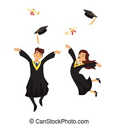 man and woman graduates - Vector cartoon style characters...