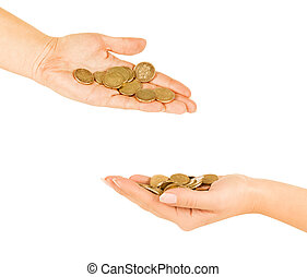 Man and Woman hand  holding coin isolated on a white background
