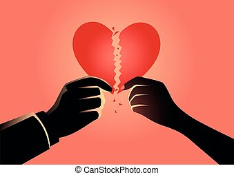 Man and woman hands holding broken heart symbol