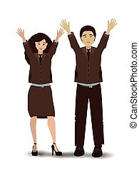 man and woman hands in the air. illustration