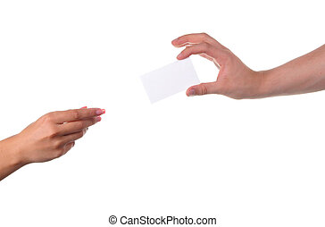 Man and woman hands passing each other a business card
