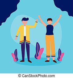 man and woman hands up - the queer community lgbtq design vector illustration