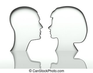 Man and woman heads profiles on white background