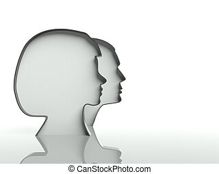 Man and woman heads profiles on white background, text space