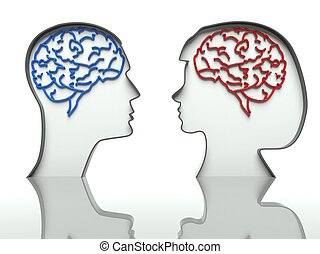 Man and woman heads profiles with brains, concept of difference