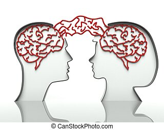 Man and woman heads profiles with connected brains, concept of communication