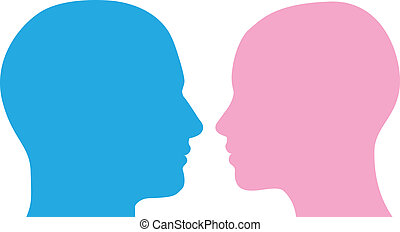Man and woman heads silhouette - Man and woman heads facing...