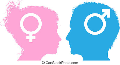 Man and woman heads talking
