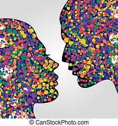 Man and woman heads with colorful circles