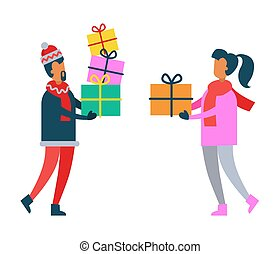 Man and Woman Holding Christmas Presents in Hands