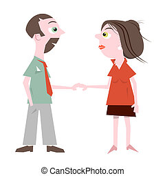 Man and Woman Holding Hands Vector Illustration Isolated on White Background