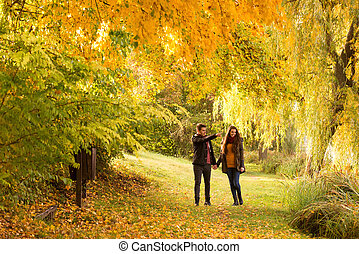 man and woman holding hands walking in the autumn park