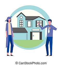 man and woman house real estate business
