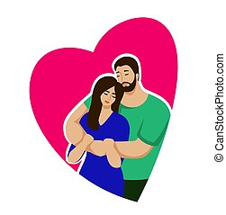 man and woman hug each other. color illustration