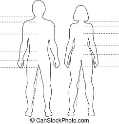 Man and woman human body silhouettes with pointers. Vector isolated outline infographic figures.