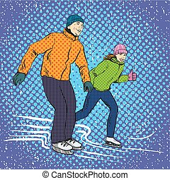 Man and woman ice skating. Vector illustration in pop art...
