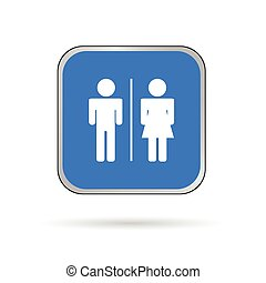 man and woman icon blue and white vector silhouette