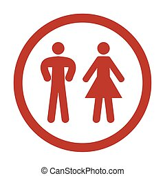 Man and Woman Icon on white background.